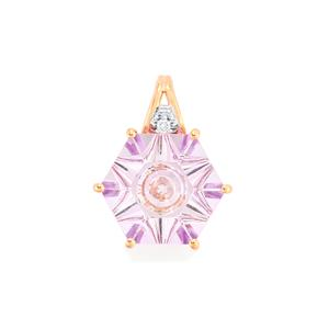 Lehrer QuasarCut Rose De France Amethyst Pendant with Diamond in 10k Rose Gold 5cts