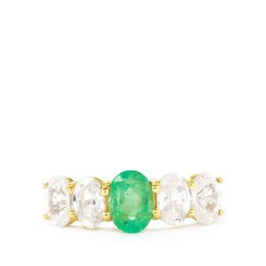 Zambian Emerald & White Zircon 10K Gold Ring ATGW 4.19cts