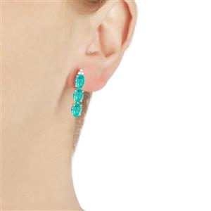 Madagascan Blue Apatite & White Topaz Sterling Silver Earrings ATGW 4.31cts
