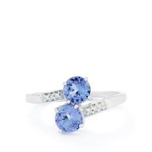 AA Tanzanite & Diamond 10K White Gold Ring ATGW 1.38cts