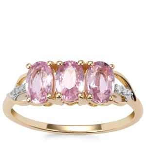 Sakaraha Pink Sapphire Ring with Diamond in 10K Gold 1.88cts