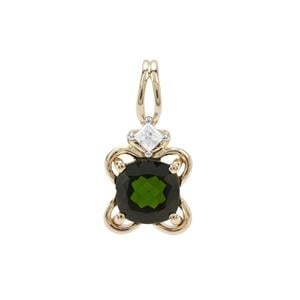 Chrome Diopside Pendant with White Zircon in 9K Gold 1.07cts