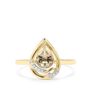 Csarite® & Diamond 9K Gold Ring ATGW 1.17cts