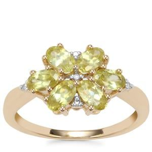 Ambilobe Sphene Ring with Diamond in 9K Gold 1.53cts