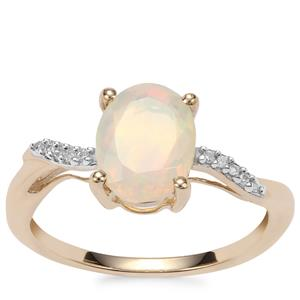 Ethiopian Opal Ring with Diamond in 9K Gold 1.07cts