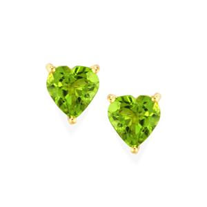 Changbai Peridot Earrings in 9K Gold 3.78cts