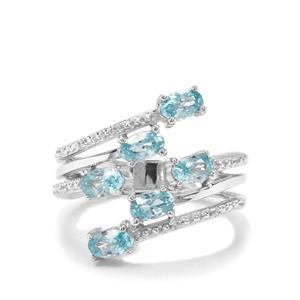 Ratanakiri Blue Zircon & White Zircon Sterling Silver Ring ATGW 2.39cts