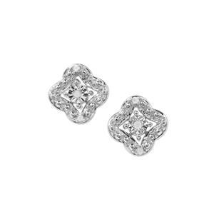 1/20ct Diamond Sterling Silver Halo Diamonds Earrings
