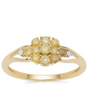 Natural Yellow Diamond Ring with White Diamond in 9K Gold 0.53ct