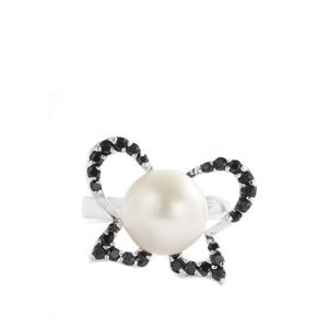 Freshwater Cultured Pearl & Black Spinel Sterling Silver Ring