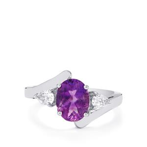Moroccan Amethyst & White Topaz Sterling Silver Ring ATGW 2.19cts