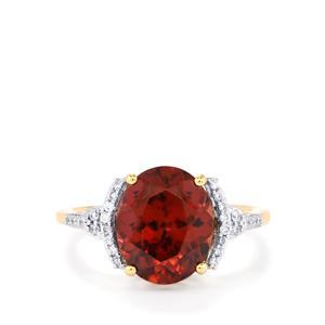 Zanzibar Zircon Ring with Diamond in 18K Gold 5.53cts
