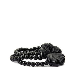 197.50ct Black Obsidian Elastic Flower Bracelet