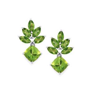 Fern Green Topaz Earrings with Fern Green Quartz in Sterling Silver 10.74cts