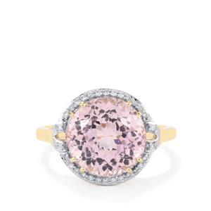Mawi Kunzite Ring with Diamond in 14k Gold 6.39cts