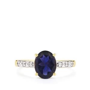 Bengal Iolite Ring with White Zircon in 10k Gold 1.60cts
