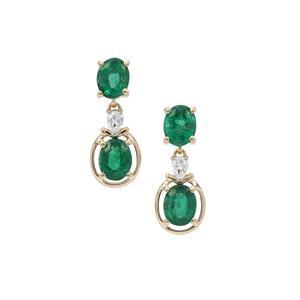 Zambian Emerald & White Zircon 9K Gold Earrings ATGW 1.65cts