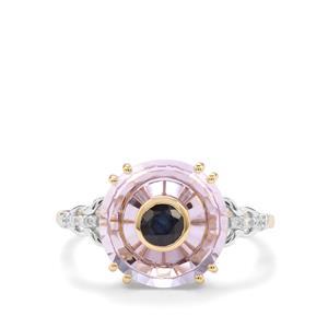 Lehrer Iris Rose De France Amethyst, Neon Apatite & Diamond 10K Gold Ring ATGW 4.08cts