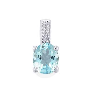 Sky Blue Topaz Pendant with White Topaz in Sterling Silver 4.41cts