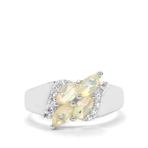 Ethiopian Opal Ring with White Topaz in Sterling Silver 0.84ct