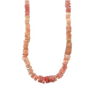 111ct Peruvian Pink Opal Sterling Silver Graduated Bead Necklace