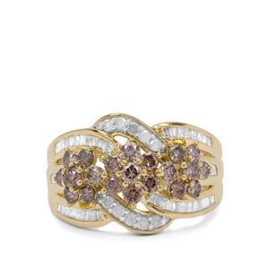 1.45ct Champagne & White Diamond 9K Gold Ring