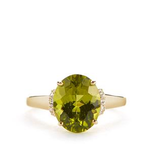 Red Dragon Peridot Ring with White Zircon in 9K Gold 4.21cts