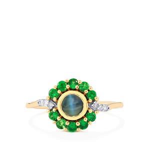 Cats Eye Alexandrite, Tsavorite Garnet & Diamond 9K Gold Ring ATGW 0.93cts
