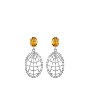 Diamantina Citrine Earrings with White Topaz in Rhodium Flash Sterling Silver 2.67cts