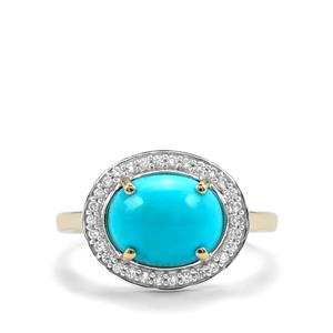 Sleeping Beauty Turquoise Ring with White Zircon in 10K Gold 2.37cts