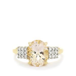 Zambezia Morganite & White Zircon 10K Gold Ring ATGW 2.53cts
