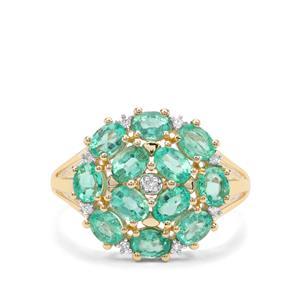 Colombian Emerald & Diamond 9K Gold Ring ATGW 1.92cts