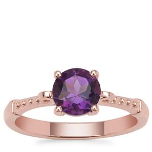 Zambian Amethyst Ring in Rose Gold Plated Sterling Silver 1.20cts