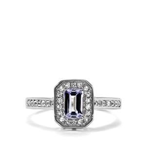 Bi Colour Tanzanite Ring with White Topaz in Sterling Silver 0.71ct