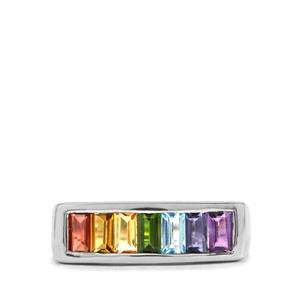 1.60ct Rainbow Gemstones Sterling Silver VIBGYOR Ring