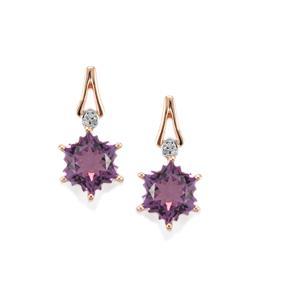Ametista Amethyst & Diamond 9K Rose Gold Wobito Snowflake Earrings ATGW 4.45cts