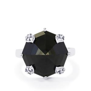 Black Spinel & White Topaz Sterling Silver Ring ATGW 16.88cts