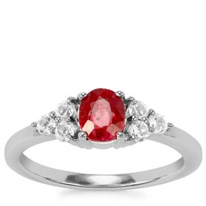 Thai Ruby Ring with White Topaz in Sterling Silver 1.25cts (F)