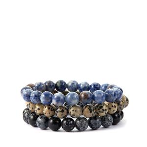 Dalmatian, Blue Jasper & Snowflake Obsidian Set of 3 Stretchable Bracelets ATGW 414.50cts