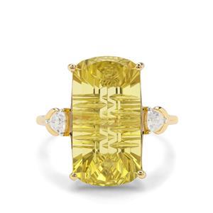 Lehrer Matrix Cut Lemon Quartz & White Zircon 9K Gold Ring ATGW 11.18cts