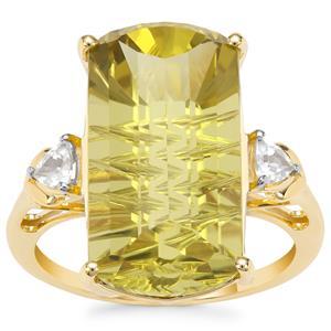 Lehrer Matrix Cut Lemon Quartz Ring with White Zircon in 9K Gold 11.18cts
