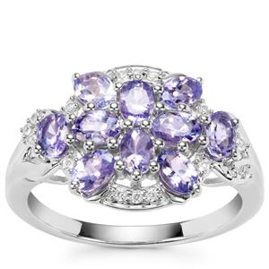 AA Tanzanite Ring with White Zircon in Sterling Silver 1.53cts