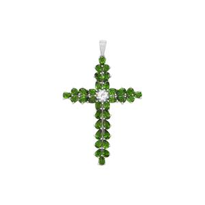 Chrome Diopside & White Topaz Sterling Silver Pendant ATGW 6.97cts
