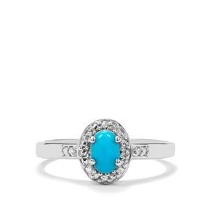 Sleeping Beauty Turquoise & Diamond Sterling Silver Ring ATGW 0.38cts