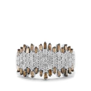 1.20ct Champagne & White Diamond Sterling Silver Ring