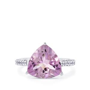 Rose De France Amethyst & White Topaz Sterling Silver Ring ATGW 4.85cts