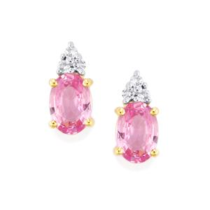 Natural Pink Sapphire Earrings with White Zircon in 10k Gold 1.29cts