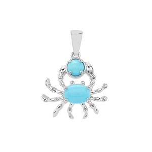 Sleeping Beauty Turquoise Crab Pendant in Sterling Silver 1.46cts