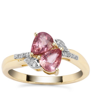 Padparadscha Sapphire Ring with Diamond in 9K Gold 1.53cts