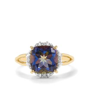 Mystic Blue Topaz Ring with Diamond in 9K Gold 3.76cts